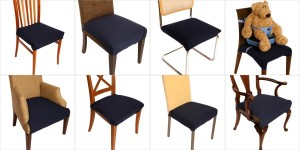 Multiple pictures of SmartSeat dining chair covers in use on various chairs