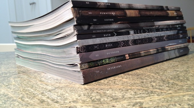 Stack Of Restoration Hardware Catalogs
