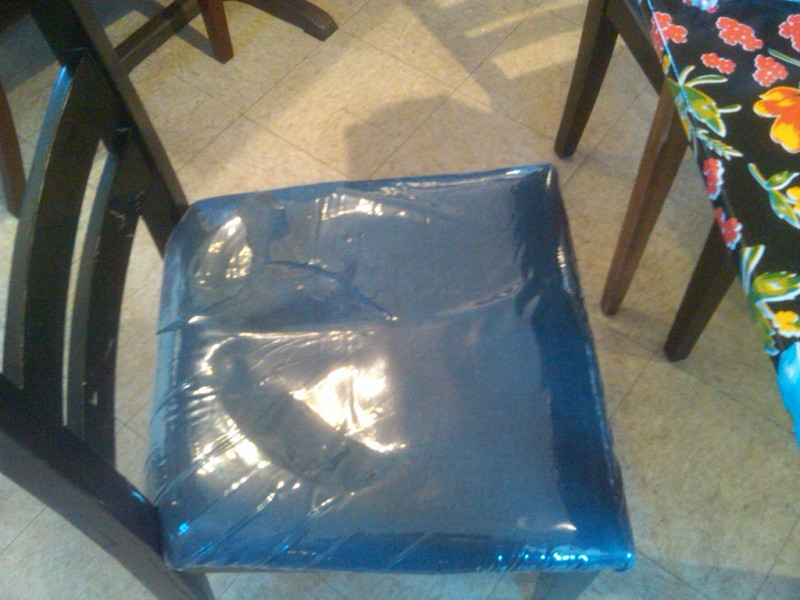 A Ripped Vinyl Cover Smartseat Chair Covers