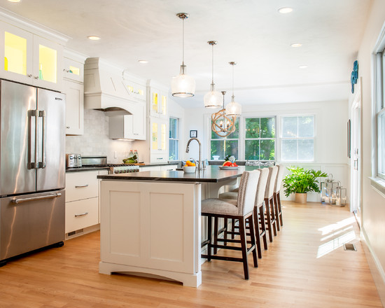 Kitchen With Elegant Tall Chairs And Great Light